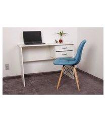 kit escrivaninha com gaveteiro branca + 01 cadeira botonê veludo - turquesa