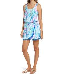 women's lilly pulitzer jarrett sleeveless romper, size xx-small - blue/green