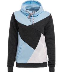 chic hooded long sleeve pocket design color block women's hoodie