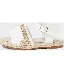 river island mini girls white quilted chain sandals