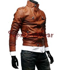 handmade new men stylish button front leather jacket, men leather jacket, leathe