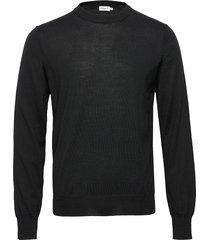 m. merino sweater gebreide trui met ronde kraag zwart filippa k