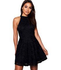 vestido racy modas curto godê com renda preto