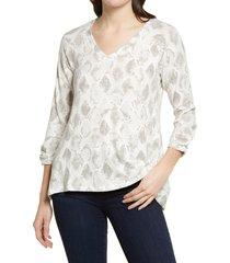 women's bobeau lido snakeskin print v-neck swing top, size x-large - beige