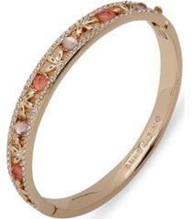 anne klein gold-tone pave & stone bangle bracelet