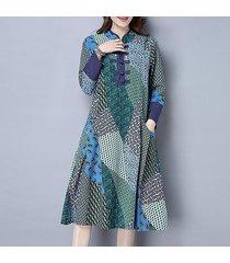 zanzea fall para mujer floral de la vendimia impresión floja holgados vestidos de manga larga túnica de vestido a media pierna -verde