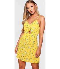 knot front woven floral skater dress, yellow