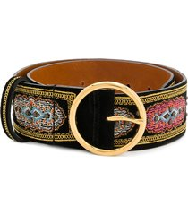 etro embroidered belt - black
