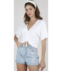 blusa feminina ampla com amarração manga curta decote v off white