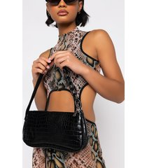 akira croc baguette purse with chain