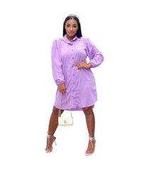 vestido camisão chemise social mullet manga longa botões lilás