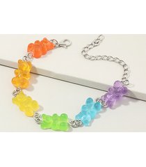 colored resin bear candy shape bracelet