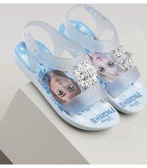sandália infantil ipanema frozen transparente com brilho azul claro