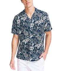 nautica men's big & tall classic-fit tropical-print camp shirt