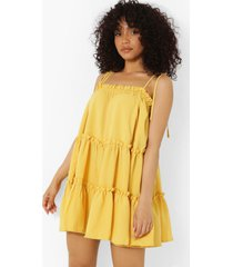 petite gesmokte swing jurk met ruches en laagjes, yellow