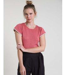 blusa feminina em tricô com babado na manga decote redondo coral