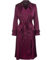 red valentino magenta pleat-detail trench coat