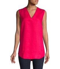 high-low sleeveless linen top
