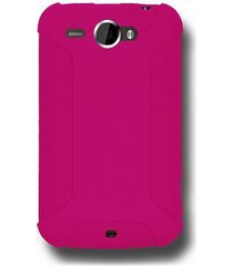 amzer silicone skin jelly case for htc wildfire - hot pink