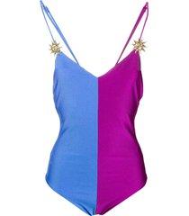 fausto puglisi colour block jersey bodysuit - blue