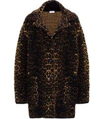 saint laurent jacquard coat with leopard print