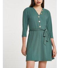 river island womens khaki button through ribbed mini dress