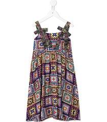 raspberry plum naomi crochet-print midi dress - multicolour
