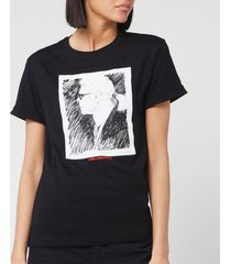 karl lagerfeld women's legend profile t-shirt - black - l
