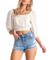 billabong juniors' dot-print cropped blouse