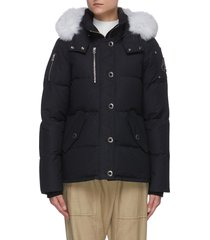 '3q' fox fur trim nylon duck down jacket