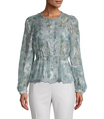 lace-trim floral top