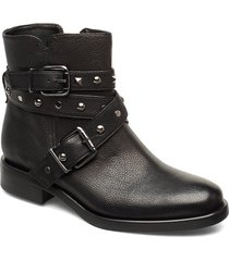 biker belt rivets shoes boots ankle boots ankle boots flat heel svart apair