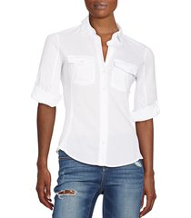 james perse women's ribbed panel button front top - white - size 0 (xs)