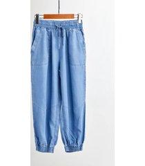 light blue drawstring elastic waisted harem pants denim crop pants trousers nwt