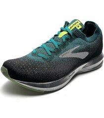 tenis running verde-negro-plateado brooks