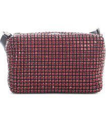 alexander wang heiress medium pouch dark red rhinestone mesh