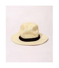 chapéu de palha feminino com faixa bege