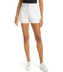 club monaco belted high waist denim shorts, size 30 in milk at nordstrom