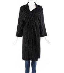 oscar de la renta checked black cashmere wool knit cardigan sweater black sz: l