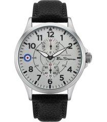 ben sherman men's black genuine leather strap multifunction watch, 44mm