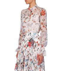 women's erdem barnaby floral print sheer voile blouse, size 6 us - white