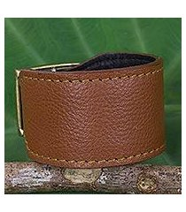 leather wristband bracelet, 'courage in chocolate brown' (thailand)