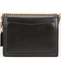 coach women's refined calf leather hutton shoulder bag - black