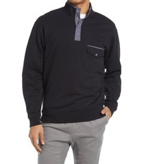 bp. men's utility organic cotton blend fleece pullover, size large - black