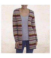 100% alpaca knit cardigan, 'pattern cornucopia' (peru)