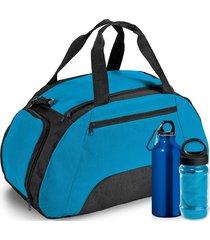 kit bolsa esportiva gym com 3 peças topget azul claro