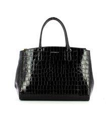 coccinelle black sortie croco embossed top-handle bag