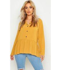 plus peplum blouse, mustard
