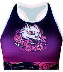 top spartanus fightwear de compressão crazy cats feminino