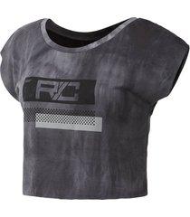 t-shirt korte mouw reebok sport combat spray dye crop t-shirt